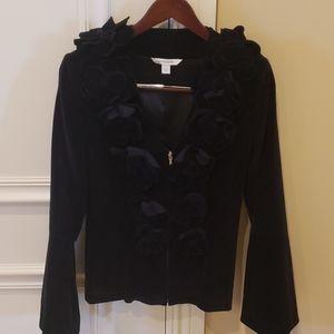 Black velvet fitted jacket